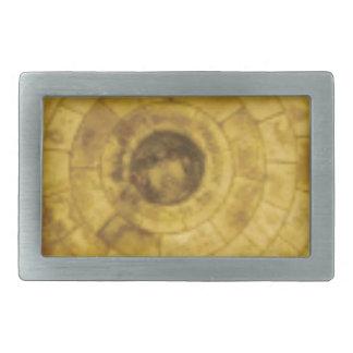 Hebilla De Cinturón Rectangular círculos de piedra amarillos