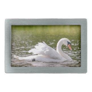 Hebilla De Cinturón Rectangular Cisne blanco en un lago