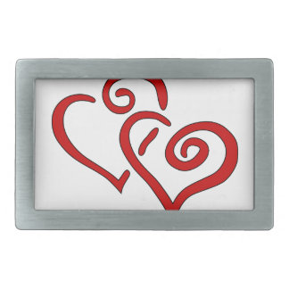 Hebilla De Cinturón Rectangular Corazón doble rojo