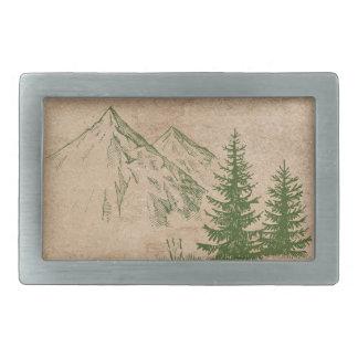 Hebilla De Cinturón Rectangular Cordillera y árboles escénicos rústicos