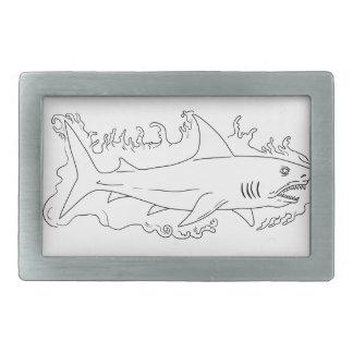 Hebilla De Cinturón Rectangular Dibujo del lado del agua del tiburón