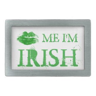 Hebilla De Cinturón Rectangular El día de St Patrick me besa que soy labios verdes