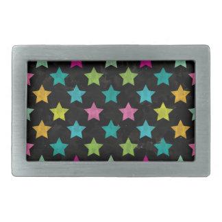 Hebilla De Cinturón Rectangular Estrellas coloridas III