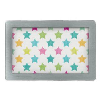 Hebilla De Cinturón Rectangular Estrellas coloridas IV