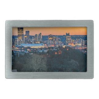 Hebilla De Cinturón Rectangular Horizonte de Pittsburgh en la puesta del sol