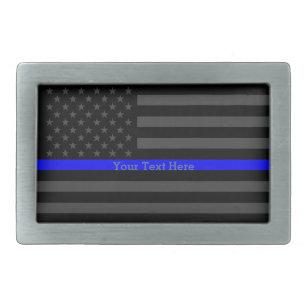 Hebilla De Cinturón Rectangular Los E.E.U.U. negros personalizados Blue Line finos