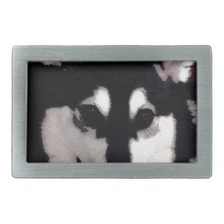 Hebilla De Cinturón Rectangular Malamute de Alaska sonriente blanco y negro