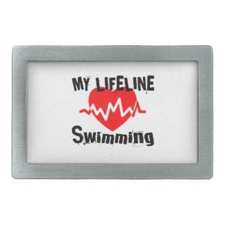 Hebilla De Cinturón Rectangular Mi línea de vida natación se divierte diseños