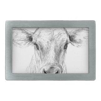 Hebilla De Cinturón Rectangular MOO una vaca joven del jersey