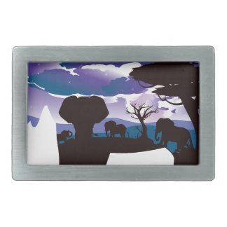Hebilla De Cinturón Rectangular Noche africana con el elefante 5