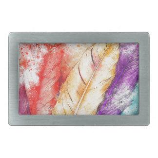 Hebilla De Cinturón Rectangular Pintura colorida de la pluma cuatro como diseñado