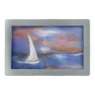 Hebilla De Cinturón Rectangular Pintura del paisaje marino de la vela del puerto