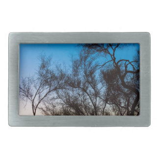 Hebilla De Cinturón Rectangular Salida del sol de la silueta del árbol de Palo
