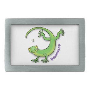 Hebilla De Cinturón Rectangular Saludos felices de gecko verde lindo con personali