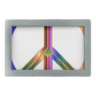 Hebilla De Cinturón Rectangular Signo de la paz colorido