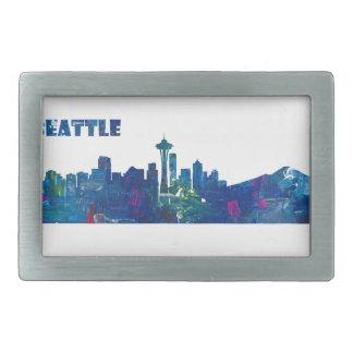 Hebilla De Cinturón Rectangular Silueta del horizonte de Seattle