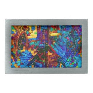 Hebilla De Cinturón Rectangular Símbolo de paz colorido del mosaico
