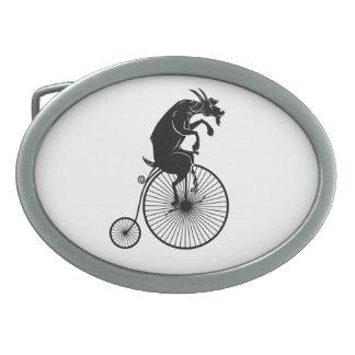 Hebilla Ovalada Cabra que monta una bici del comino del penique