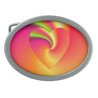 Hebilla Ovalada Corazón del amor del remolino del arco iris