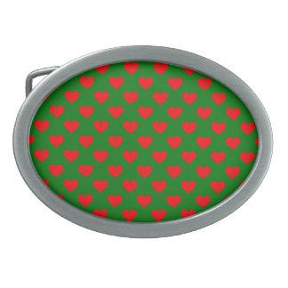 Hebilla Ovalada Corazones rojos grandes del navidad en verde