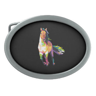 Hebilla Ovalada Equestrian corriente colorido del semental del