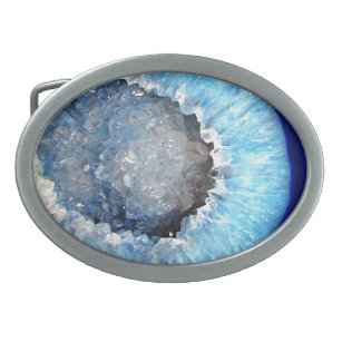 Hebilla Ovalada Falln Geode cristalino azul