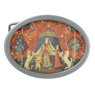 Hebilla Ovalada Lady y el arte medieval de Unicorn