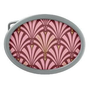 Hebilla Ovalada Modelo de la fan del art déco - rosa y marrón