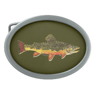 Hebilla Ovalada Pintura de peces de trucha rota