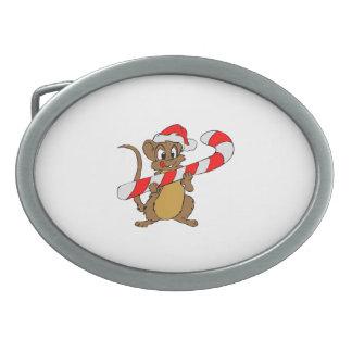 Hebilla Ovalada Ratón con un bastón de caramelo del navidad