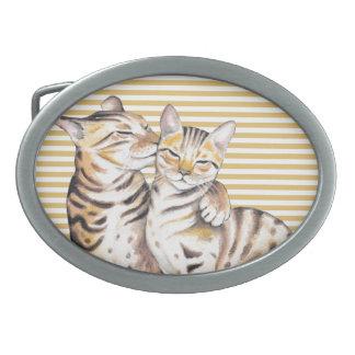Hebilla Ovalada Rayas del ocre de los gatos de Bengala