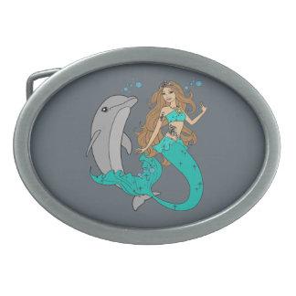 Hebilla Ovalada Sirena con el delfín
