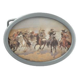 Hebilla Ovalada Vaqueros del vintage, una rociada para la madera