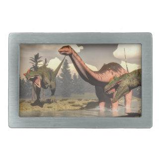 Hebilla Rectangular Allosaurus que caza el dinosaurio grande del