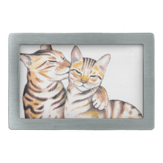 Hebilla Rectangular Arte de la acuarela de dos gatos de Bengala