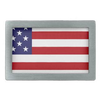 Hebilla Rectangular Bandera americana - barras y estrellas - vieja