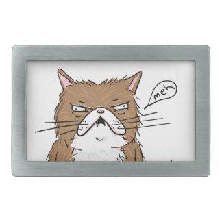 Hebilla Rectangular Dibujo gruñón divertido del gato de Meh