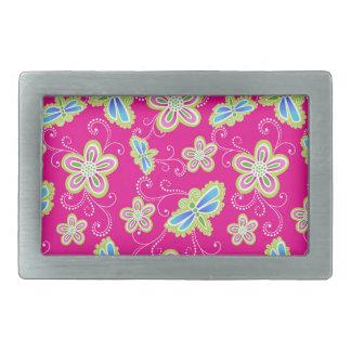 Hebilla Rectangular Flores, libélulas y remolinos lindos en rosa