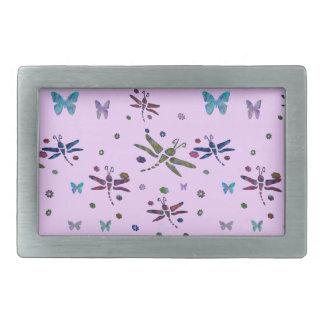 Hebilla Rectangular flores y libélulas coloridas