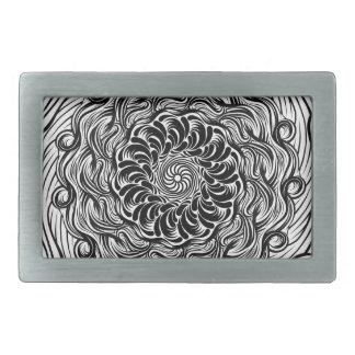 Hebilla Rectangular Ilusión óptica del Doodle adornado del zen blanco