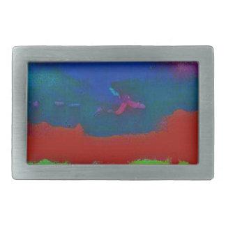 Hebilla Rectangular La caída colorida entonó el cielo abstracto del