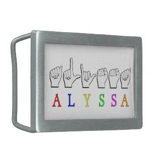 HEBILLA RECTANGULAR MUESTRA CONOCIDA DE ALYSSA ASL FINGERSPELLED SORDA