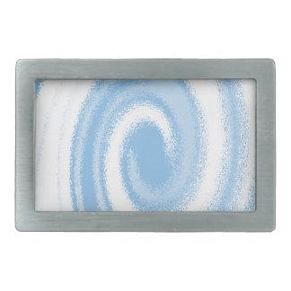 Hebilla Rectangular Onda espiral gráfica azul y blanca de Digitaces