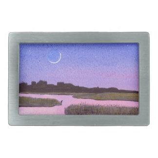 Hebilla Rectangular Pantano creciente del crepúsculo de la luna y de