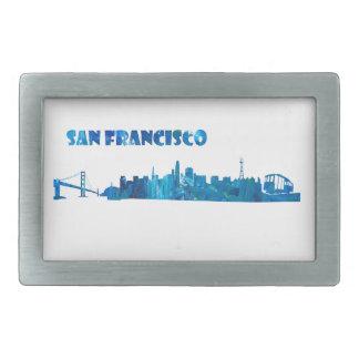 Hebilla Rectangular Silueta del horizonte de San Francisco