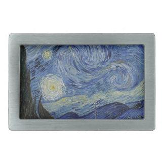 Hebilla Rectangular Vincent van Gogh - noche estrellada. Pintura del