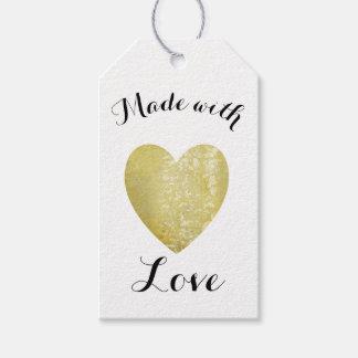 Hecho con hoja de oro del sello del corazón del etiquetas para regalos