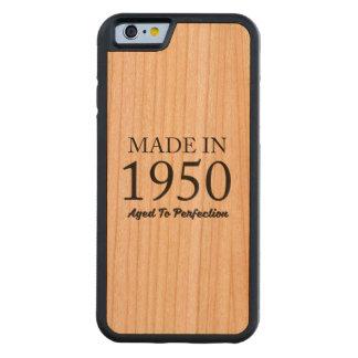 Hecho en 1950 funda protectora de cerezo para iPhone 6 de carved