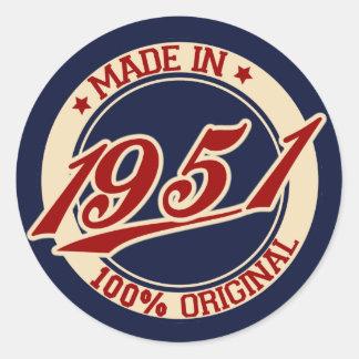 Hecho en 1951 pegatina redonda