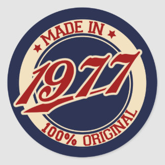 Hecho en 1977 pegatina redonda